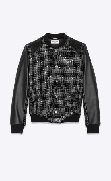 SAINT LAURENT Casual Jackets Woman tweed and sequins teddy with leather details a_V4