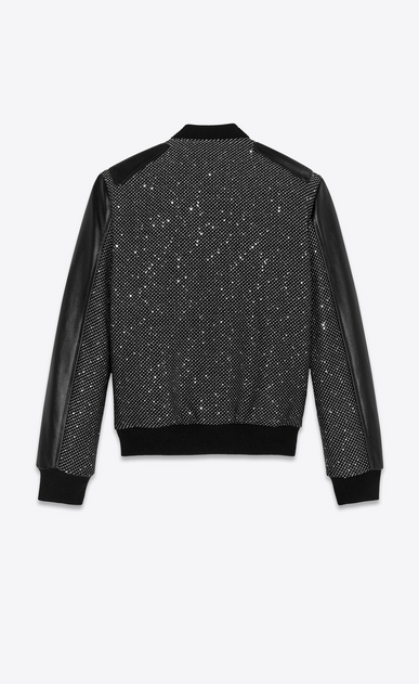 SAINT LAURENT Casual Jackets Woman tweed and sequins teddy with leather details b_V4