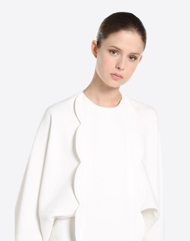 Scalloped Silk Nylon Drap Dress