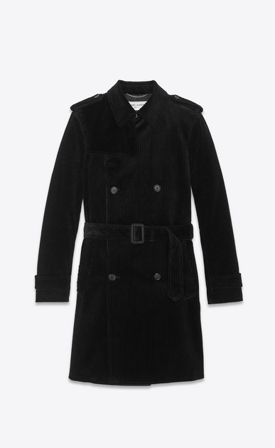 SAINT LAURENT Trench Coats Man velvet corduroy trench coat a_V4