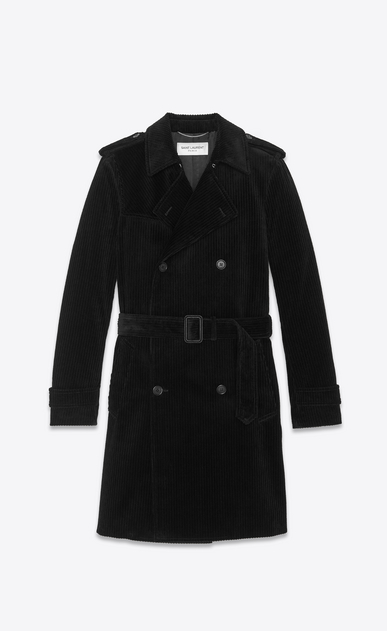 SAINT LAURENT Trench Coats Man velvet corduroy trench coat b_V4