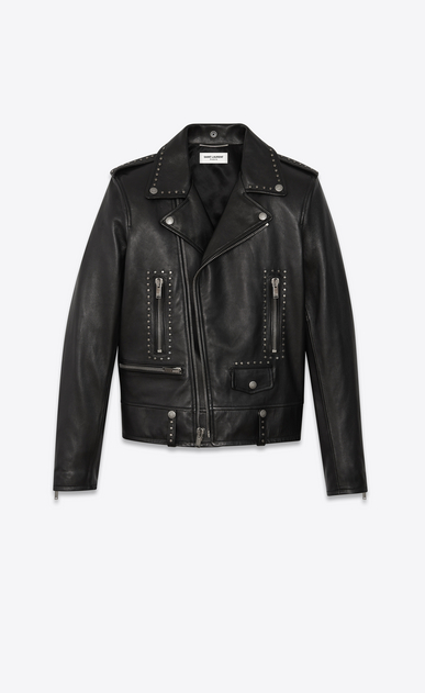 SAINT LAURENT Leather jacket Man studded leather motorcycle jacket a_V4
