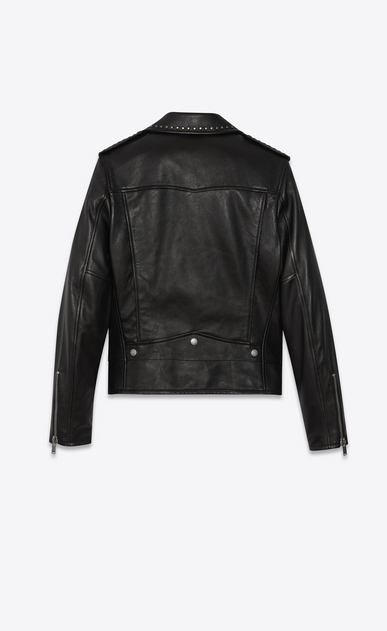 SAINT LAURENT Leather jacket Man studded leather motorcycle jacket b_V4