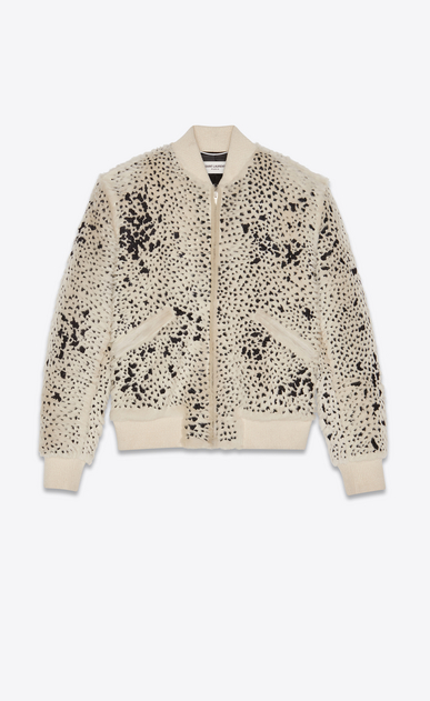 SAINT LAURENT Leather jacket Man embroidered shearling teddy a_V4