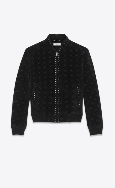 SAINT LAURENT Leather jacket Man studded suede jacket a_V4