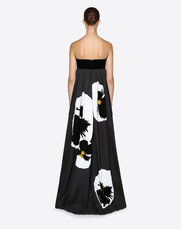 Pansy Embroidered Evening Dress