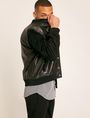 ARMANI EXCHANGE SUEDE-SLEEVE LEATHER VARSITY JACKET Blouson Jacket Man a