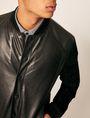 ARMANI EXCHANGE SUEDE-SLEEVE LEATHER VARSITY JACKET Blouson Jacket Man b