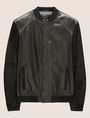 ARMANI EXCHANGE SUEDE-SLEEVE LEATHER VARSITY JACKET Blouson Jacket Man r