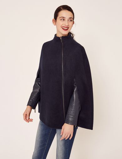 REVERSIBLE DOUBLE-FACE WOOL BLEND CAPE