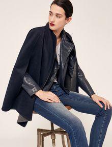 ARMANI EXCHANGE REVERSIBLE DOUBLE-FACE WOOL BLEND CAPE Jacket Woman a