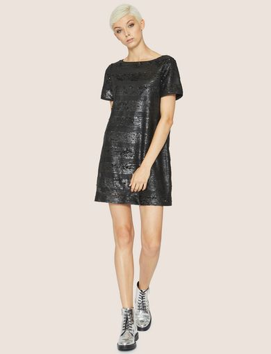 ALLOVER SEQUIN STRIPE SHIFT