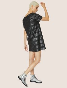 ARMANI EXCHANGE ALLOVER SEQUIN STRIPE SHIFT Midi dress Woman a