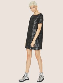 ARMANI EXCHANGE ALLOVER SEQUIN STRIPE SHIFT Midi dress Woman d
