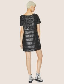 ARMANI EXCHANGE ALLOVER SEQUIN STRIPE SHIFT Midi dress Woman e