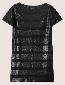 ARMANI EXCHANGE ALLOVER SEQUIN STRIPE SHIFT Midi dress Woman r