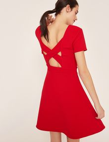 ARMANI EXCHANGE CUTOUT CROSS-BACK FIT-AND-FLARE Midi dress Woman a
