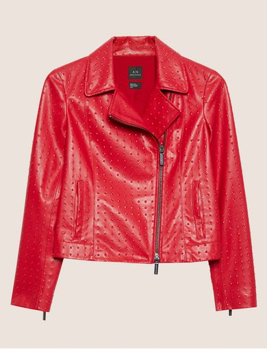 PYRAMID-EMBOSSED BIKER JACKET