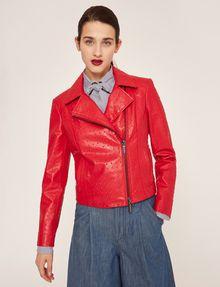 ARMANI EXCHANGE PYRAMID-EMBOSSED BIKER JACKET Blouson Jacket Woman f