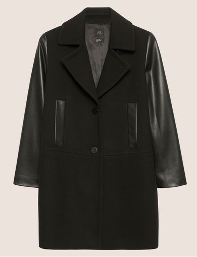 COLORLOCKED FAUX-LEATHER SLEEVE PEA COAT