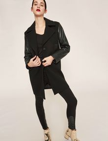 ARMANI EXCHANGE COLORLOCKED FAUX-LEATHER SLEEVE PEA COAT Coat [*** pickupInStoreShipping_info ***] a