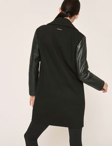 ARMANI EXCHANGE COLORLOCKED FAUX-LEATHER SLEEVE PEA COAT Coat [*** pickupInStoreShipping_info ***] e