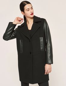 ARMANI EXCHANGE COLORLOCKED FAUX-LEATHER SLEEVE PEA COAT Coat [*** pickupInStoreShipping_info ***] f