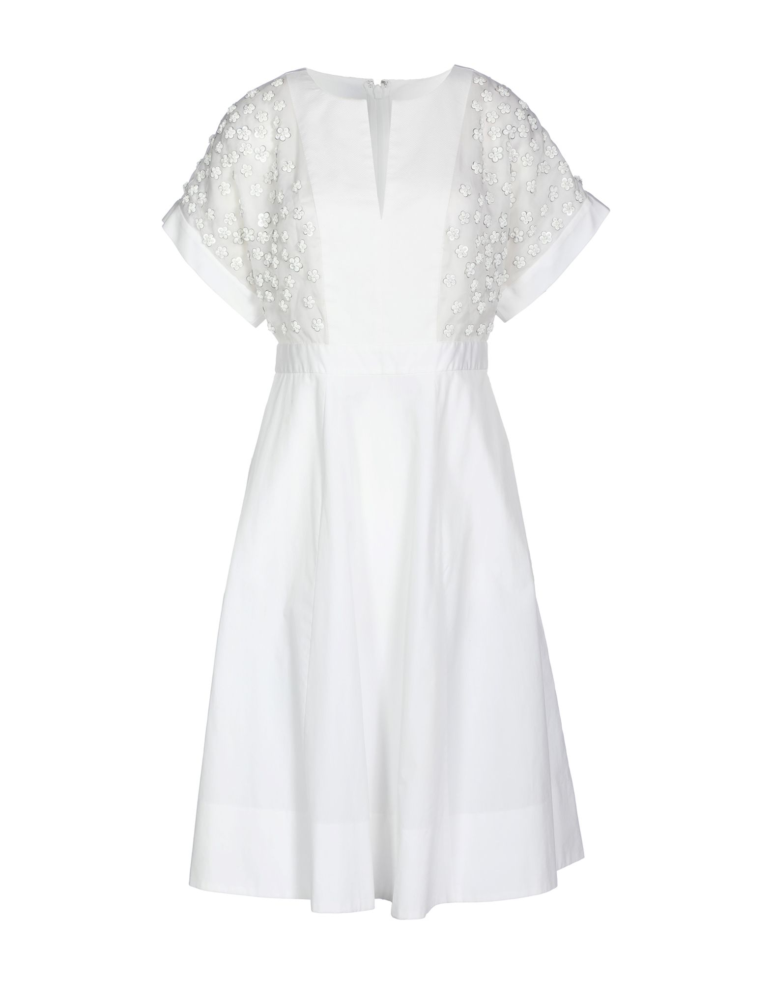J.CREW Knee-length dresses. plain weave, organza, sequined, beaded, basic solid color, short sleeves, fully lined, hook-and-bar, zip, no pockets, deep neckline, dress. 100% Cotton