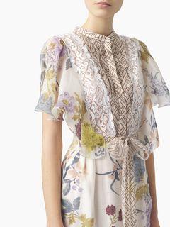 """Robe chemise en organza à imprimé """"Floral patchwork"""""""