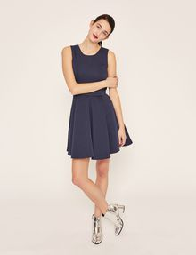 ARMANI EXCHANGE SATIN BOX-PLEAT FIT-AND-FLARE Mini dress Woman f
