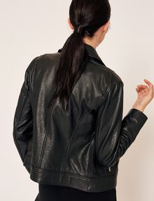 ARMANI EXCHANGE PEBBLED LEATHER MOTO JACKET Leather Woman e