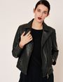 ARMANI EXCHANGE PEBBLED LEATHER MOTO JACKET Leather Woman f