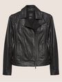 ARMANI EXCHANGE PEBBLED LEATHER MOTO JACKET Leather Woman r
