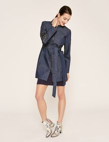 ARMANI EXCHANGE FLORAL CUTOUT EMBROIDERY DENIM TRENCH Denim Jacket Woman d