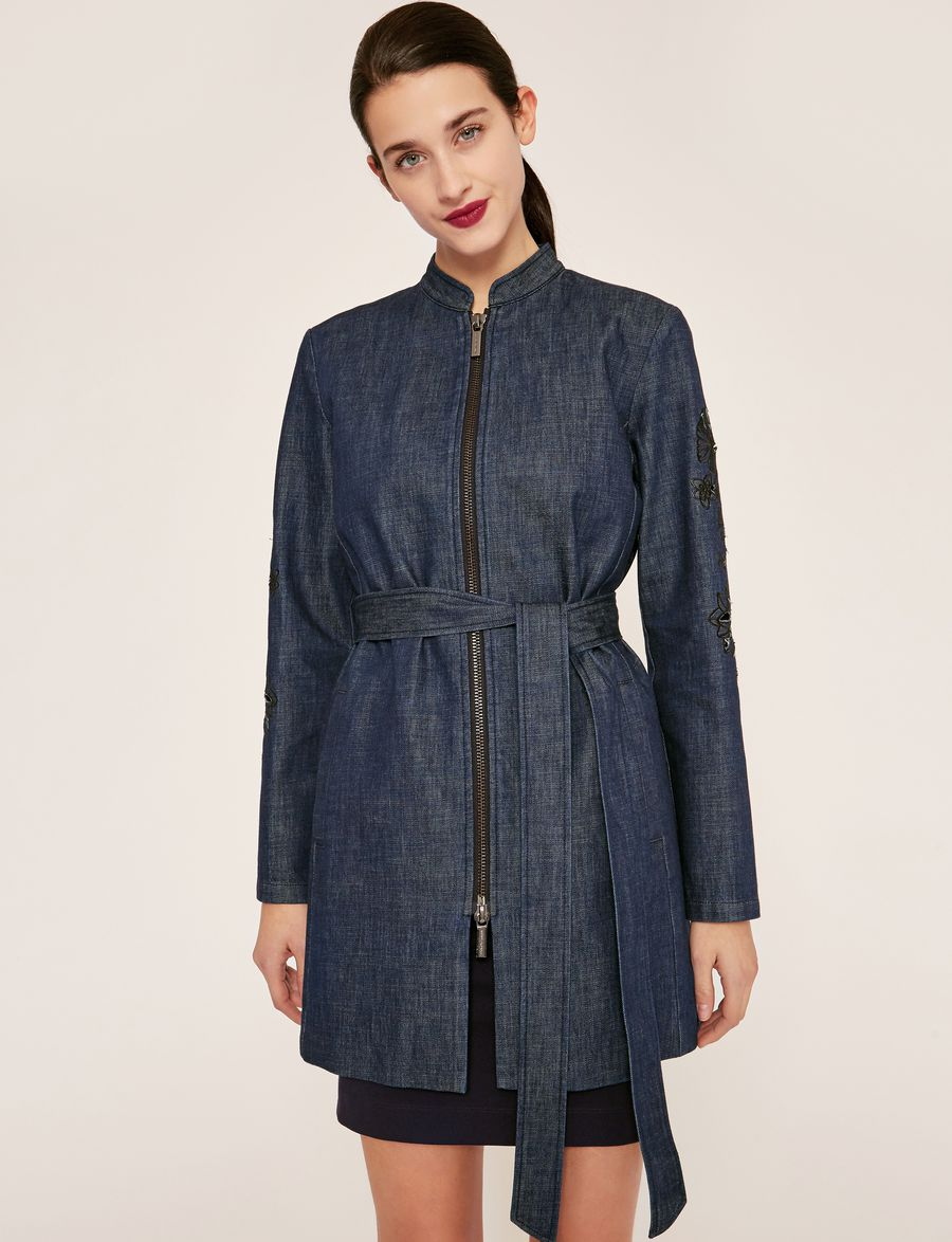 e74ce79bae9ae Armani Exchange FLORAL CUTOUT EMBROIDERY DENIM TRENCH