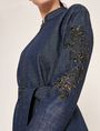 ARMANI EXCHANGE FLORAL CUTOUT EMBROIDERY DENIM TRENCH Denim Jacket Woman b