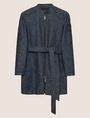 ARMANI EXCHANGE TRENCHCOAT AUS DENIM MIT FLORALER CUT-OUT-STICKEREI Jeansjacke Damen r