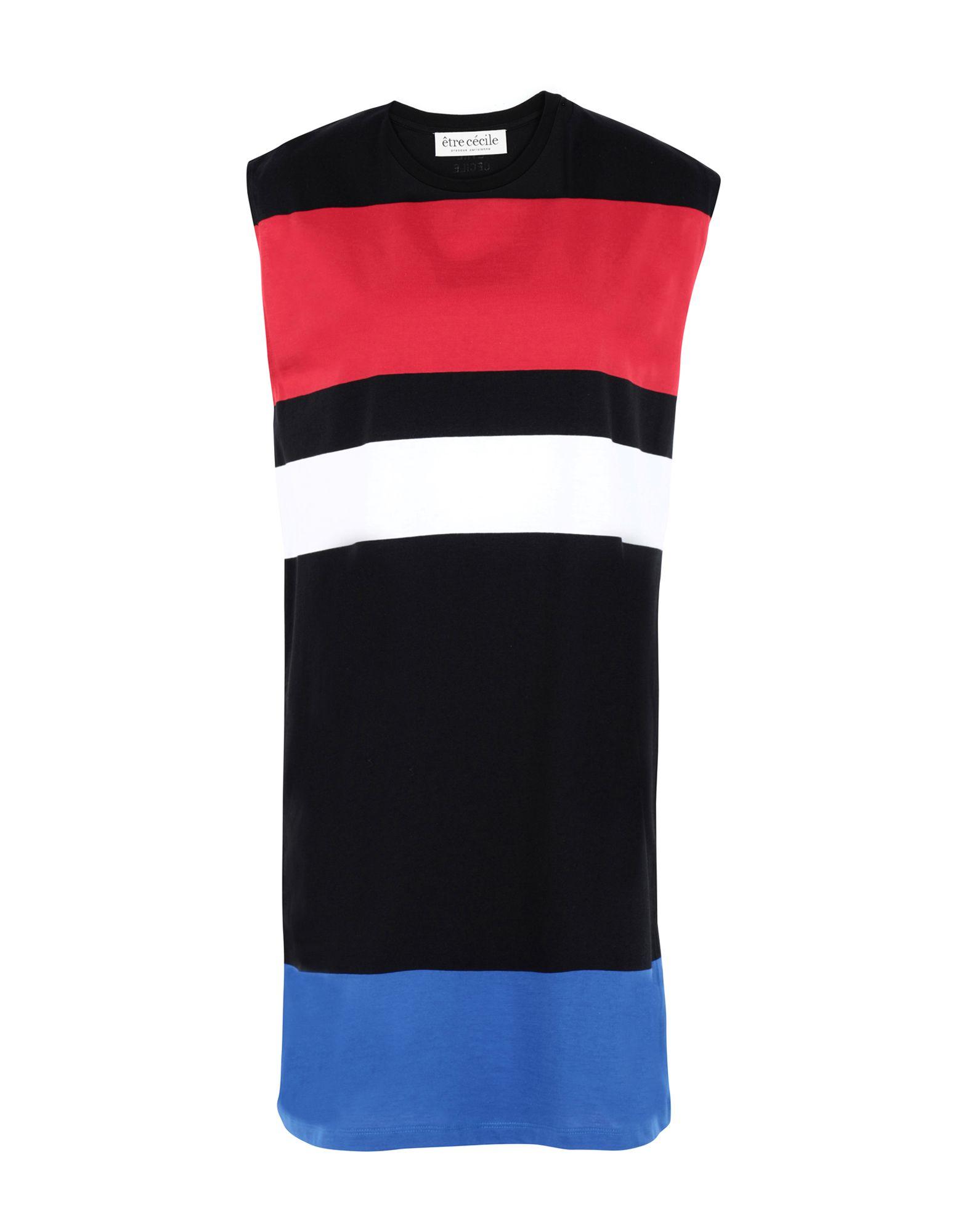 《セール開催中》?TRE C?CILE レディース ミニワンピース&ドレス ブラック M コットン 100% big stripe boyfriend dress