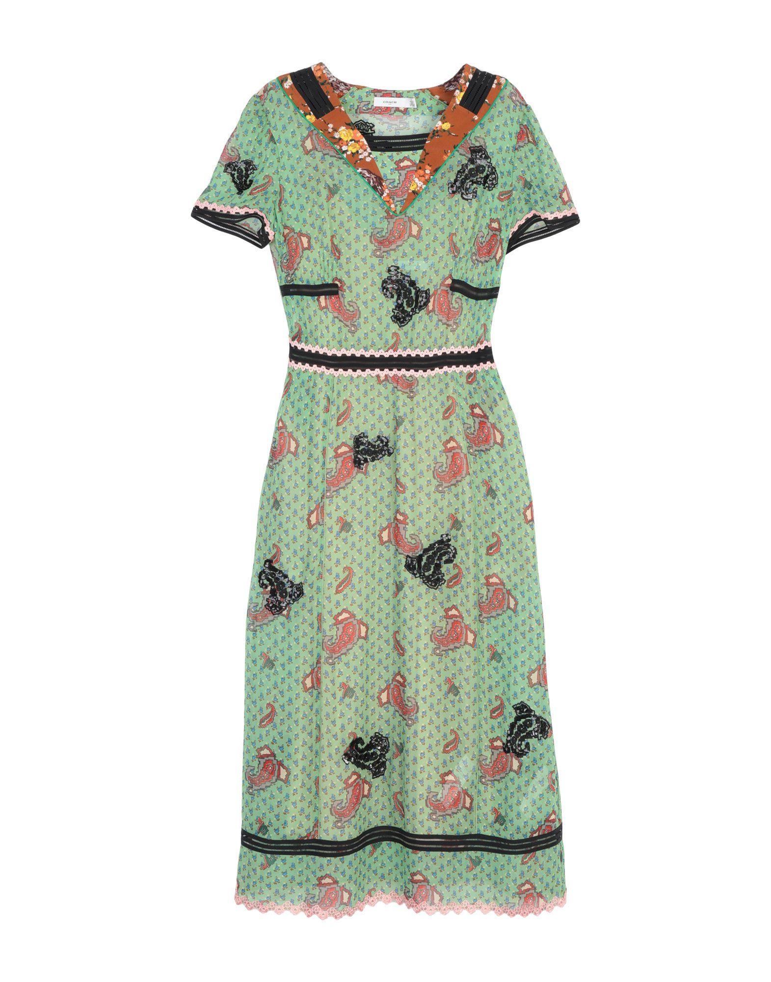 《送料無料》COACH レディース 7分丈ワンピース・ドレス ライトグリーン 6 キュプラ 100%