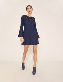 ARMANI EXCHANGE CUTOUT FLORAL DENIM BELL-SLEEVE DRESS Midi dress Woman f