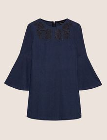 ARMANI EXCHANGE CUTOUT FLORAL DENIM BELL-SLEEVE DRESS Midi dress Woman r