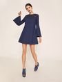 ARMANI EXCHANGE CUTOUT FLORAL DENIM BELL-SLEEVE DRESS Midi dress Woman d