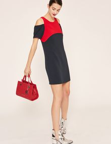 ARMANI EXCHANGE COLORBLOCKED COLD-SHOULDER DRESS Mini dress [*** pickupInStoreShipping_info ***] d