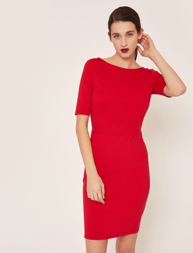 BOATNECK SCOOP-BACK BODYCON DRESS