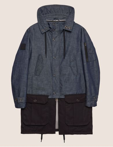 COLORBLOCKED DARK DENIM PARKA
