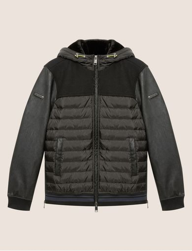 FAUX-LEATHER SLEEVE PIECED PUFFER