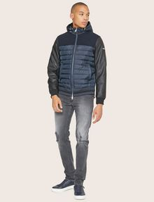 ARMANI EXCHANGE FAUX-LEATHER SLEEVE PIECED PUFFER Blouson Jacket Man d