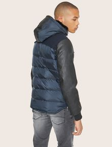 ARMANI EXCHANGE FAUX-LEATHER SLEEVE PIECED PUFFER Blouson Jacket Man e