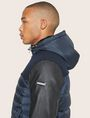 ARMANI EXCHANGE FAUX-LEATHER SLEEVE PIECED PUFFER Blouson Jacket Man b
