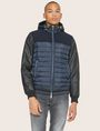 ARMANI EXCHANGE FAUX-LEATHER SLEEVE PIECED PUFFER Blouson Jacket Man f